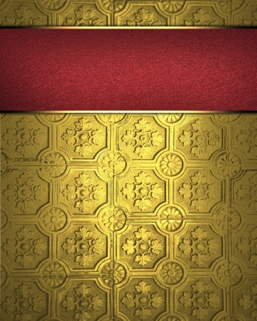 Template for inscription  Design template - Gold background with red nameplate Stock Photo