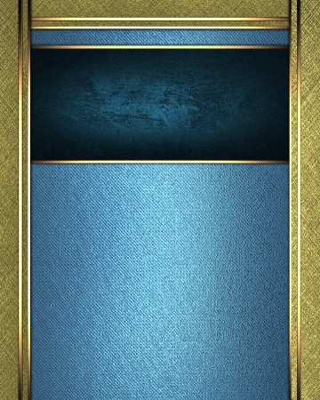 The template for the inscription  Blue background with gold edges and a blue nameplate for the label  photo