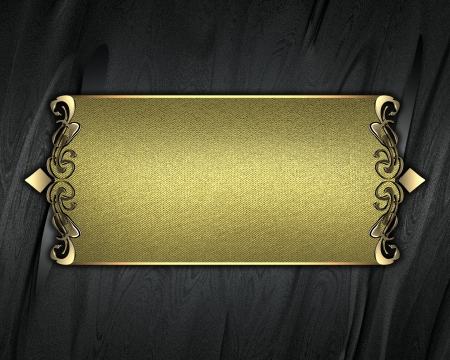 classy background: Template for writing  Black background with gold name plate with gold ornate edges Stock Photo