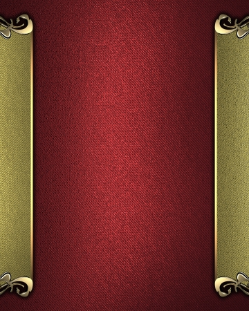 Template for writing  Red background with gold name plate with gold ornate edges photo