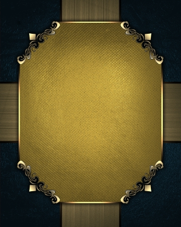 Design template - Abstract Blue Background with gold ribbons and gold nameplate photo