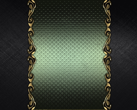 Design template - Black background with a green name plate with patterns on the edges photo