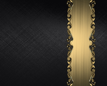 Design template - Black background with a gold nameplate with a pattern on the edges photo