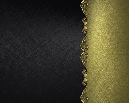 Design template - Black background with a gold plate with a pattern on the edges photo