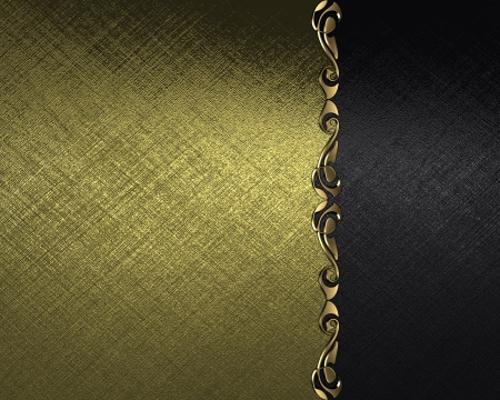 Design template - Gold background with a black plate with a pattern on the edges