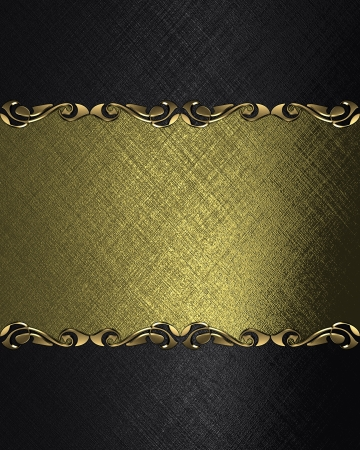 Design template - Black background with a gold name plate with patterns on the edges photo