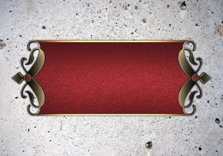 Design template - Old white wall with red nameplate with gold ornate edges photo