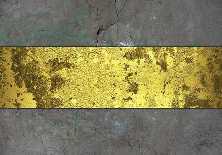 dull: The template for the inscription. Grunge wall, with grange gold nameplate. Stock Photo