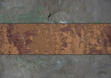 The template for the inscription. Grunge wall, with grange rusty nameplate.