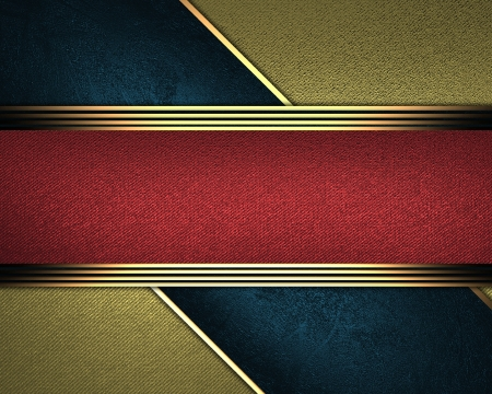 Design template - Abstract gold background, with a red nameplate in middle  photo