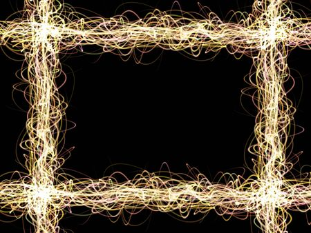 overlaying: Overlaying wavy lines forming an abstract pattern on a black background. Template for text.
