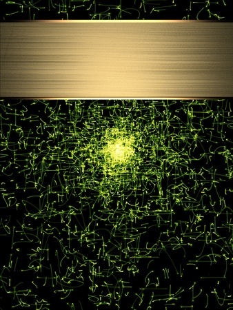 abound: Design template. Abstract Green particles, with gold nameplate. burst of energy.