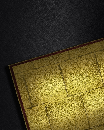 The template for the inscription. Black background with inserts of gold color of brick Stock Photo - 16730594