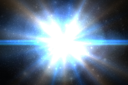 Design template - Star, sun with lens flare. Rays blue of light on a  blue background Stock Photo - 16730632