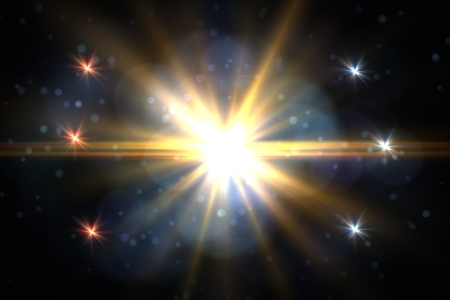 Design template - Star, sun with lens flare. Rays yellow of light on a  black background with particles photo