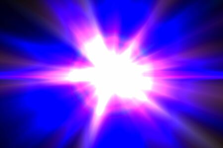 Design template - Star, sun with lens flare. Rays blue of light on a  blue background photo