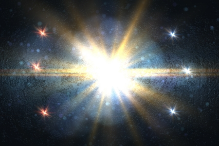 Design template - Star, sun with lens flare. Rays blue of light on a  blue background Stock Photo - 16741523