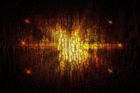 Design template -  Star, sun with lens flare. Rays Yellow of light on a red wooden background Stock Photo - 16741515
