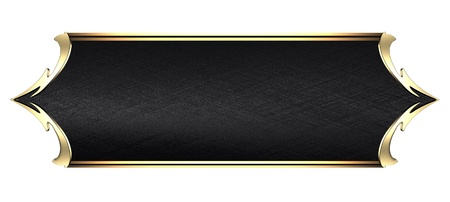 gold plaque: Design template - White Background with Black plate and a beautiful gold trim