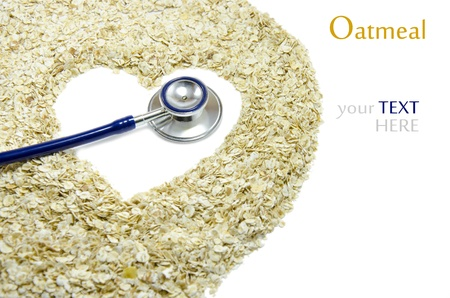 White heart painted on oatmeal with Stethoscope  Stock Photo - 16944539