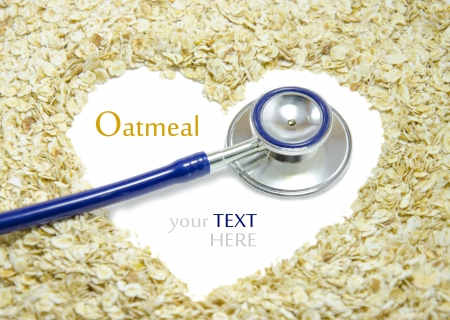 White heart painted on oatmeal with Stethoscope Stock Photo - 16944541