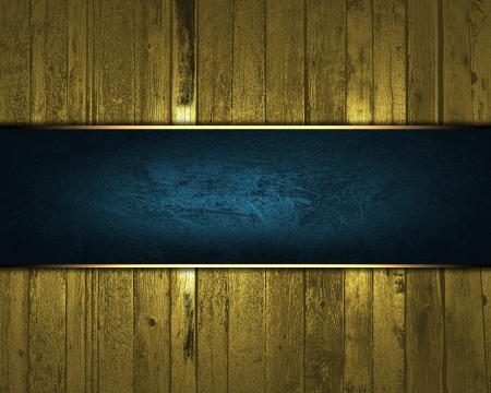 Design template - Gold wooden texture with blue nameplate for text photo