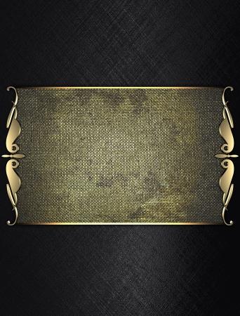 Design template - Black Background with gold plate and a beautiful gold trim photo