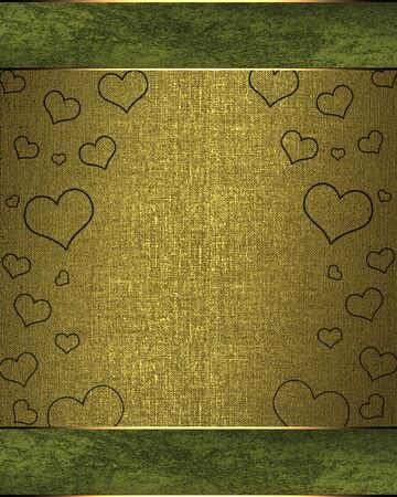 Drawing hearts on a green background, with a golden nameplate. valentines day photo