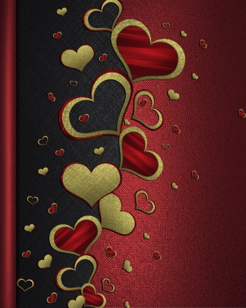 Golden hearts on a black-red background. valentines day photo
