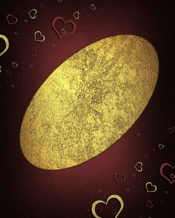 Beautiful texture with red and gold hearts. valentine's day. photo