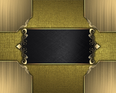 Design template - Gold texture with golden corners and black name plate with gold trim photo