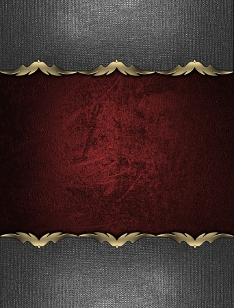Design template - Red texture with iron plates on the edges with a gold pattern photo