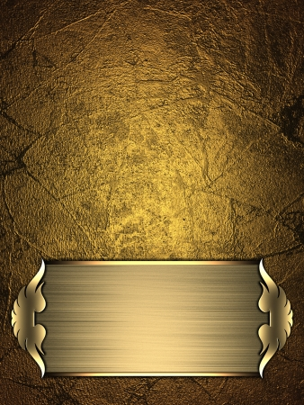 Design template - Gold Background with gold plate and a beautiful gold trim photo