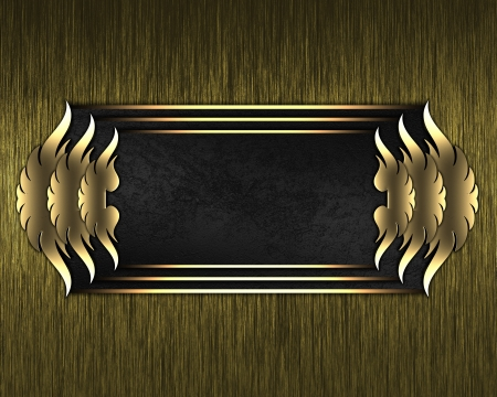 Design template - Gold Background with black plate and a beautiful gold trim photo