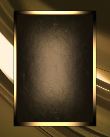The template for the inscription. Gold abstract texture with brown nameplate Stock Photo - 17430446