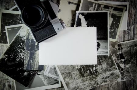 retro, viejas fotos fijas de fondo de la tabla de madera.