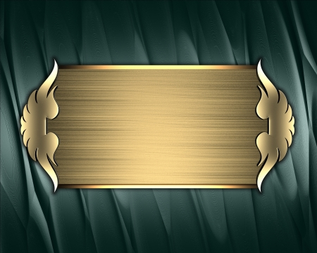 plaque: Design template - Green texture with gold nameplate and gold trim