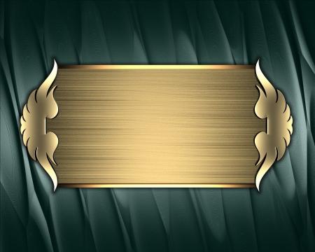 placa bacteriana: Plantilla de dise�o - Textura verde con placa de oro y adornos de oro