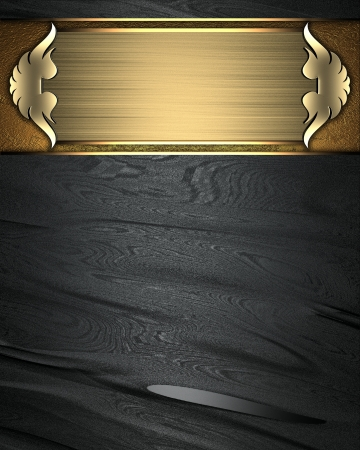 Design template - Black texture with gold nameplate and gold trim Stock Photo - 17430729