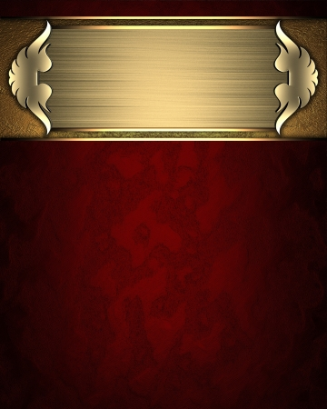 Design template - Red texture with gold nameplate and gold trim