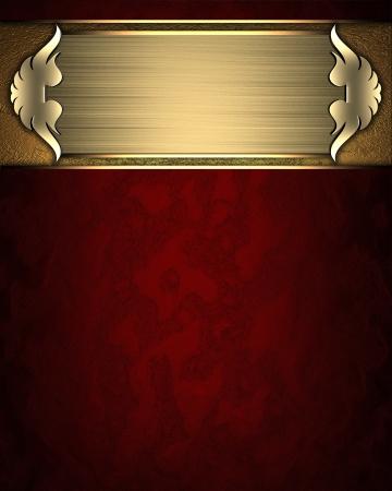 placa bacteriana: Plantilla de diseño - textura roja con placa de oro y adornos de oro