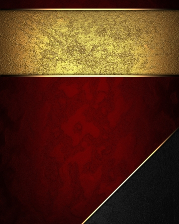 classy background: Design template - Red texture with gold nameplate and with black corner