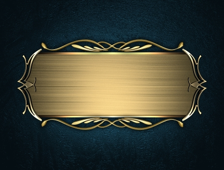name plate: Design template - Blue texture with beautiful gold name plate with gold ornate edges Stock Photo