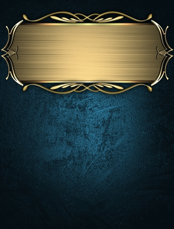 Design template - Blue texture with beautiful gold name plate with gold ornate edges Stock Photo - 17430581