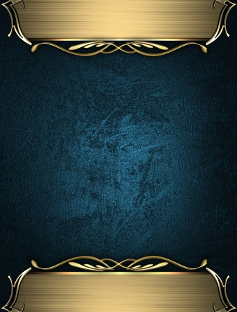 Design template - Blue rich texture with golden edges and gold trim Stock Photo - 17430680