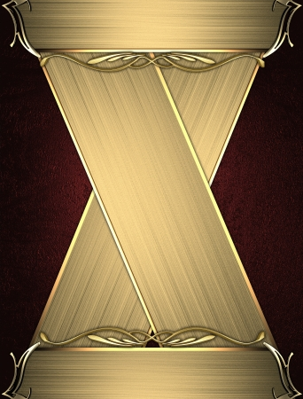 Design template - Red rich texture with golden edges and gold trim. Intersected gold plates Stock Photo - 17430489