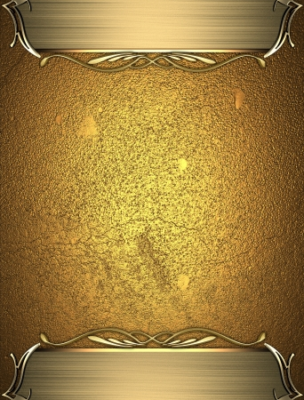 the plaque: Design template - Gold rich texture with golden edges and gold trim Stock Photo