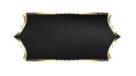 Template for writing. Black nameplate with gold ornate edges, isolated on white background Stock Photo - 17430314