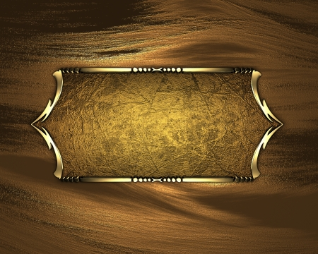 Template for writing. Black name plate with gold ornate edges, on gold background Stock Photo - 17430672