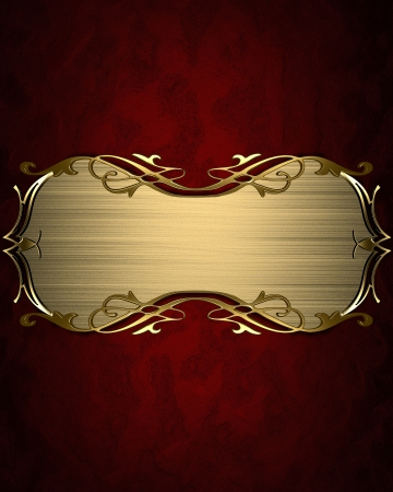 Design template - Red texture with gold name plate with gold ornate edges Stock Photo - 17430492